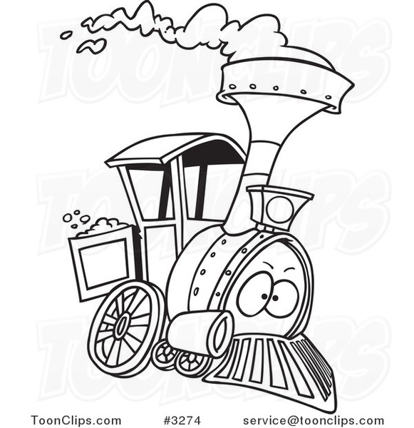Line Drawing Train : Cartoon black and white line drawing of a steam engine