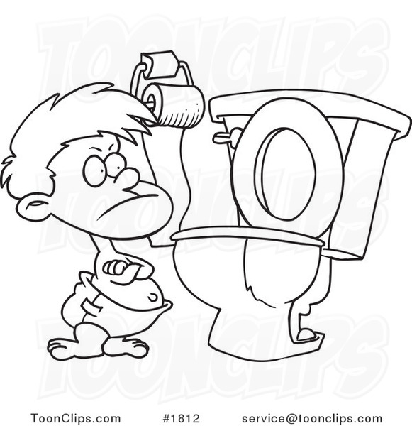 Line Drawing Toilet : Cartoon black and white line drawing of a stubborn toddler