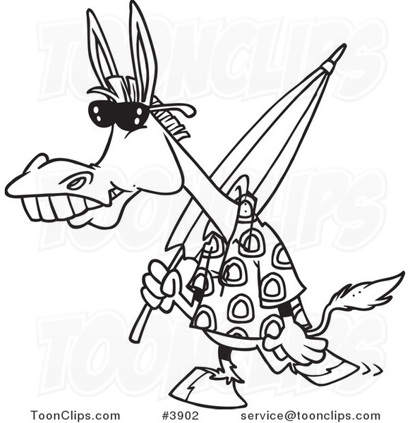 Line Drawing Beach : Cartoon black and white line drawing of a summer donkey