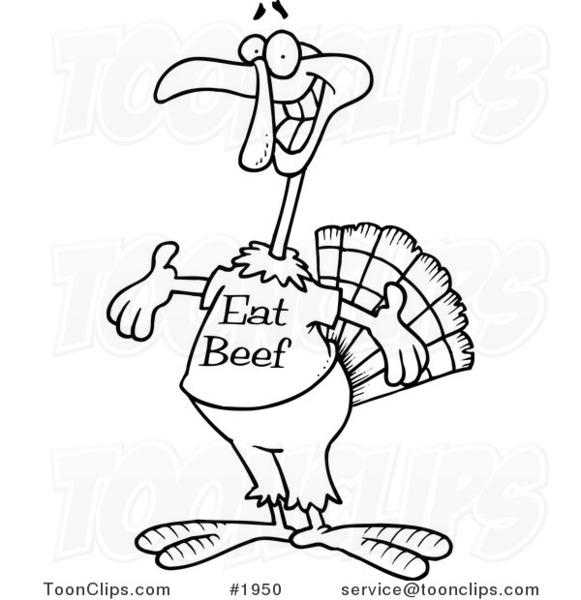 cartoon black and white line drawing of a turkey bird wearing an eat beef shirt 1950 by ron leishman eat beef shirt 1950 by ron leishman