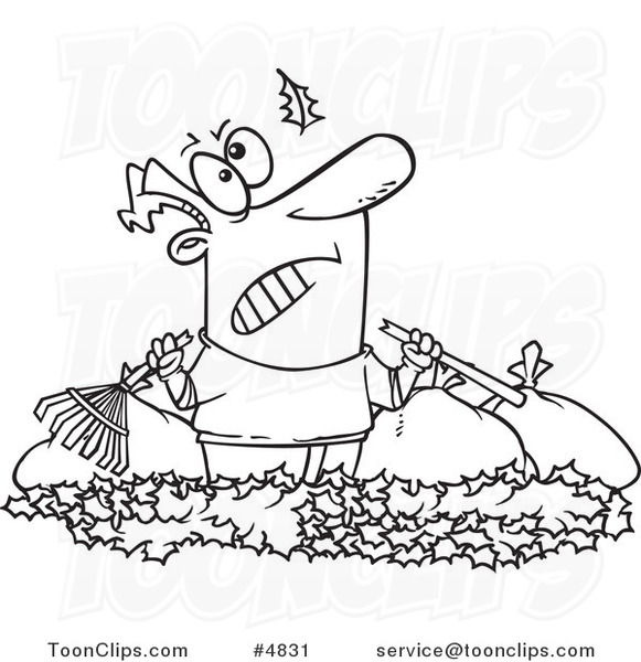 Cartoon Black And White Line Drawing Of An Angry Guy Watching Another Leaf Fall On His Pile 4831 By Ron Leishman