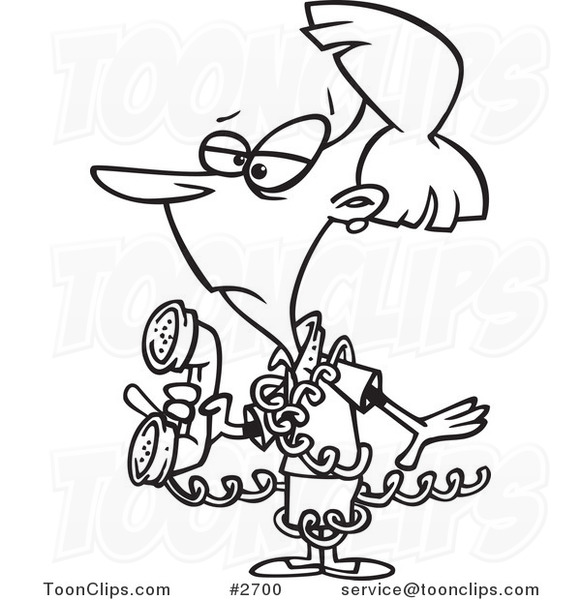 Cartoon Black And White Line Drawing Of An Inept Lady Tangled In A