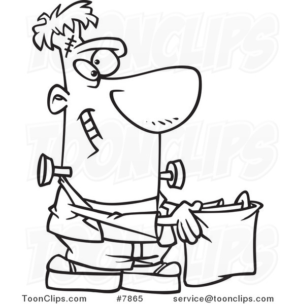 Cartoon Black And White Line Drawing Of Frankenstein Holding A Treat Bag 7865 By Ron Leishman