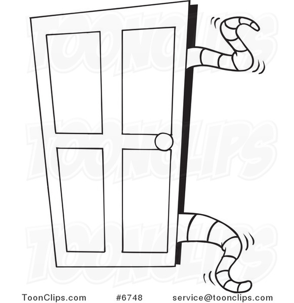 Cartoon Black And White Line Drawing Of Tentacles Opening A Closet Door 6748 By Ron Leishman