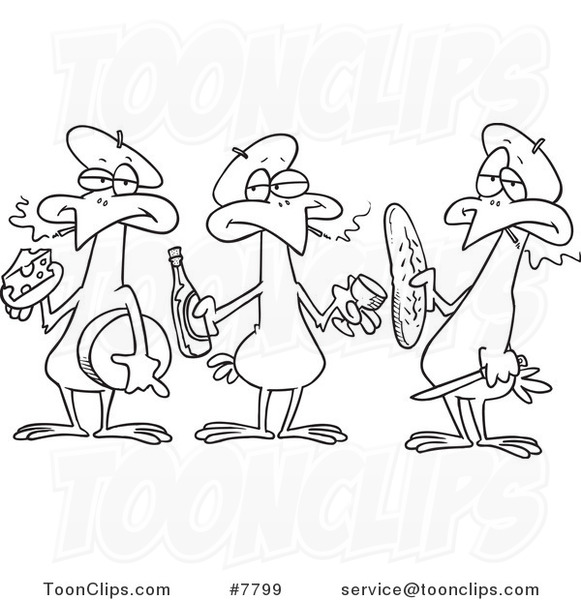 Cartoon Black And White Line Drawing Of Three French Hens 7799 By