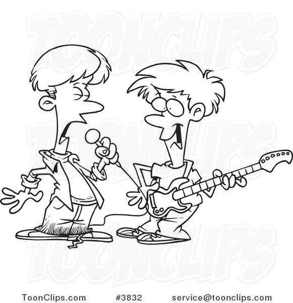 Cartoon Black And White Line Drawing Of Two Boys Singing And Playing A Guitar In A Band 3832 By Ron Leishman