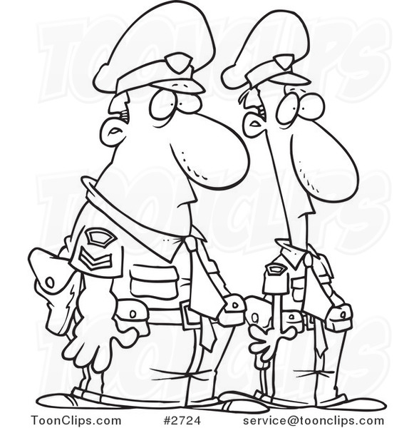 Cartoon Black And White Line Drawing Of Two Police Officers 2724 By