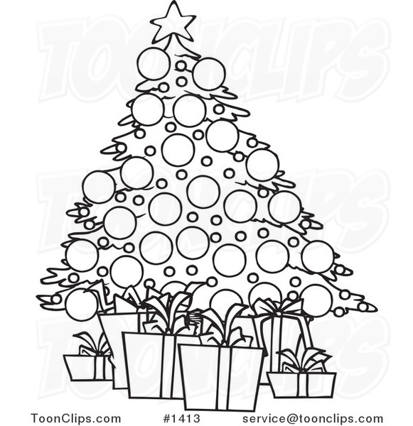 Cartoon Black And White Outline Design Of A Christmas Tree And Gifts