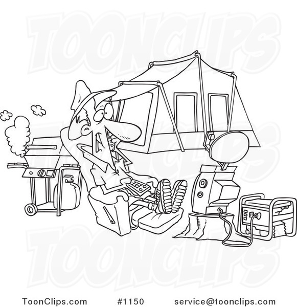 Cartoon Black And White Outline Design Of A Guy Watching Tv Hooked