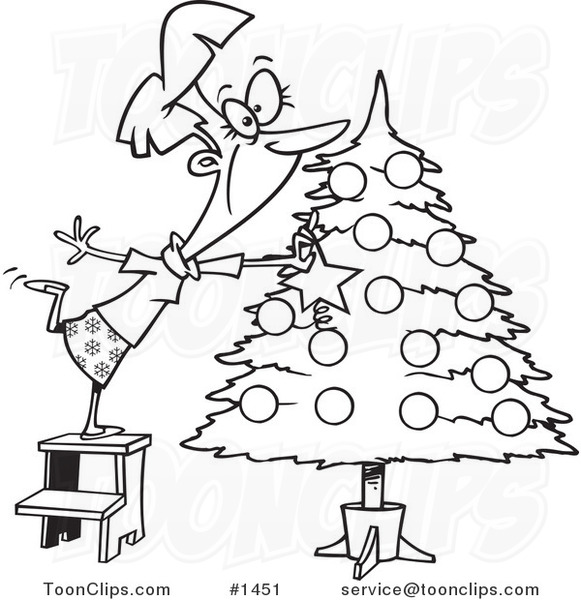 cartoon black and white outline design of a happy lady decorating a christmas tree 1451 by ron leishman cartoon black and white outline design