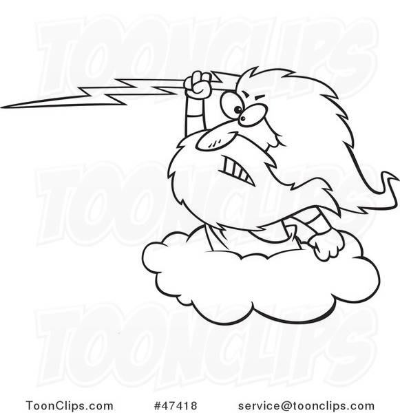 Cartoon Black And White Zeus Holding A Lightning Bolt On A