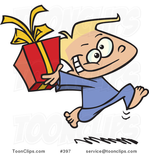 Cartoon Black Boy Running with a Gift Box #397 by Ron Leishman