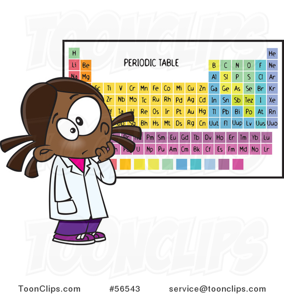 Cartoon Black School Girl Studying The Periodic Table Of Elements
