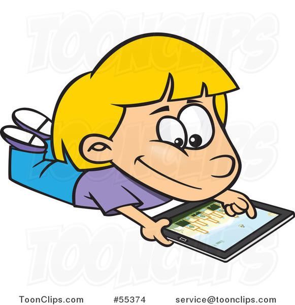 cartoon blond girl using an ipad tablet computer 55374 by baseball clip art images free basketball clip art images full screen