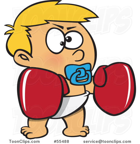 Cartoon Blond Toddler Boy With Boxing Gloves 55488 By Ron