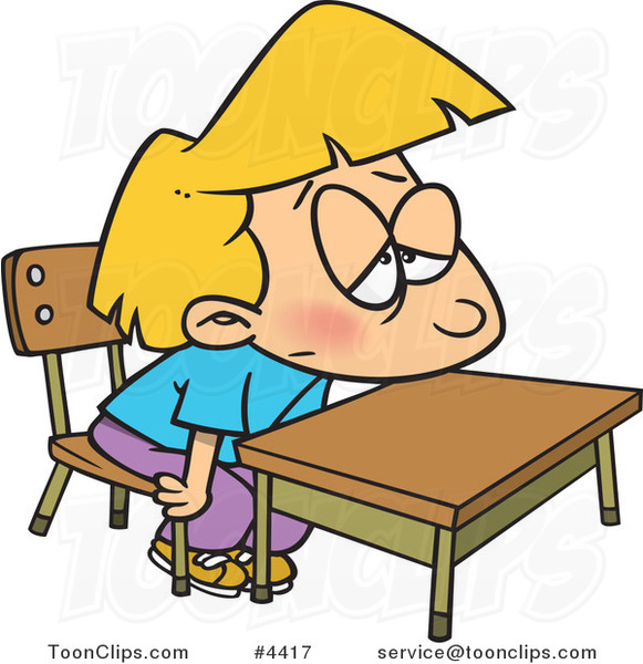 Cartoon Bored School Girl At Her Desk 4417 By Ron Leishman