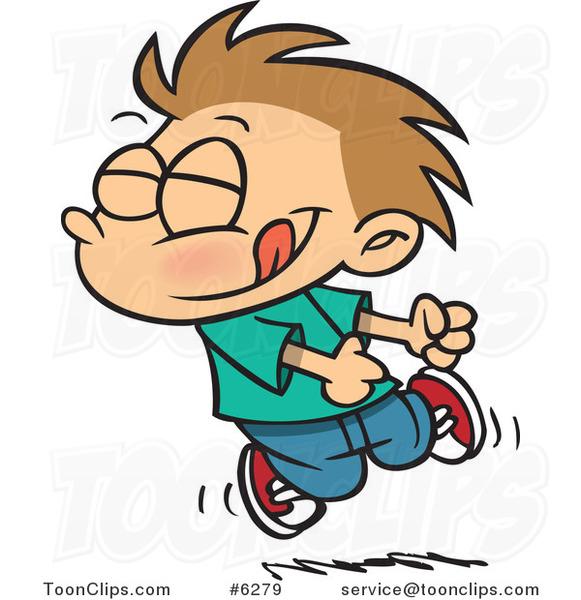 Cartoon Boy Doing A Happy Dance 6279 By Ron Leishman