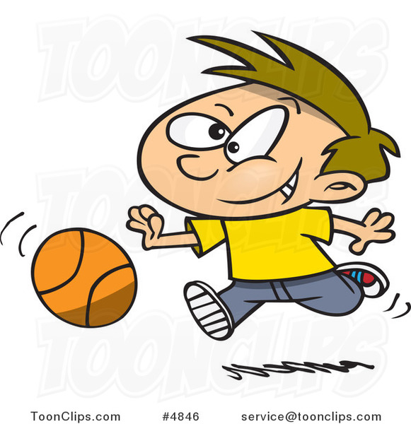 Cartoon Boy Dribbling a Basketball