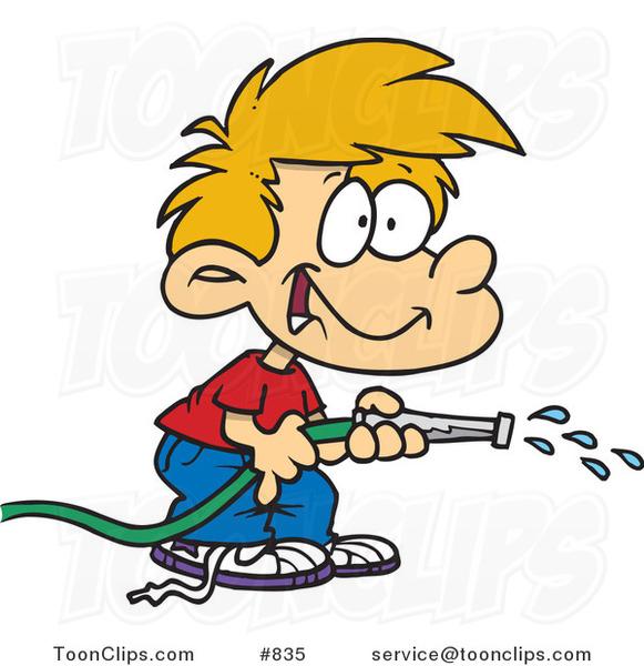 Cartoon Boy Using a Garden Hose to Water #835 by Ron Leishman