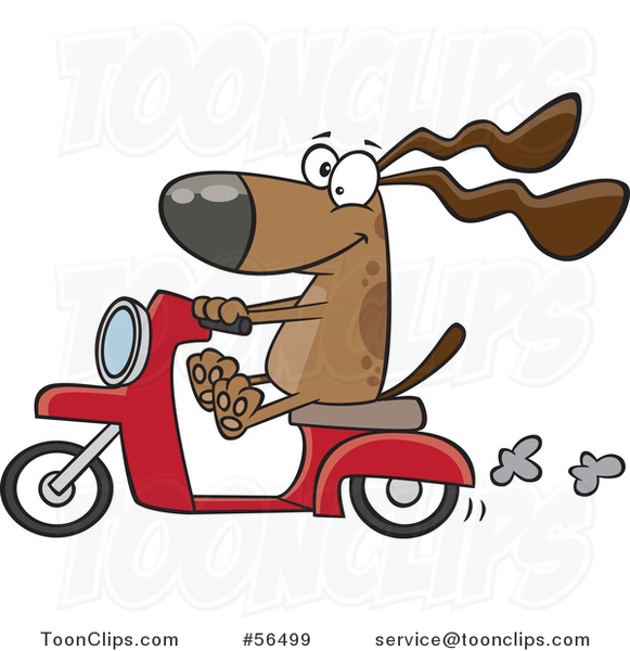 Cartoon Brown Dog Riding a Scooter