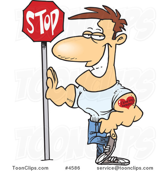 cartoon buff guy leaning against a stop sign 4586 by ron leishman rh toonclips com My Hero Cartoon Muscle Man Cartoon