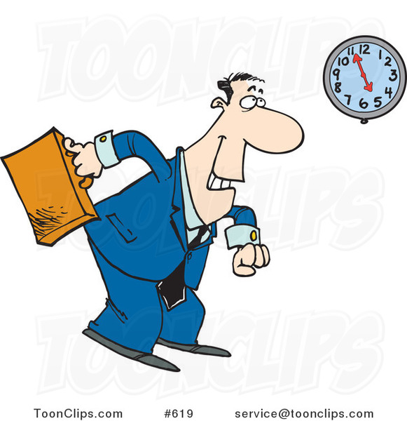 Cartoon Business Man Leaving At The End Of The Work Day 619 By Ron Leishman