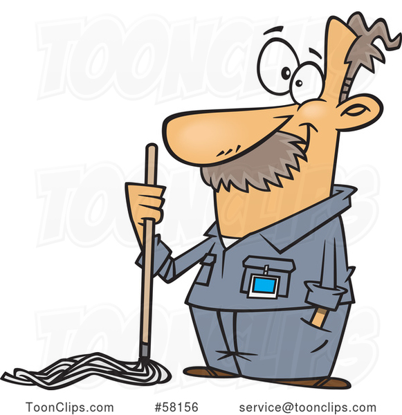 Cartoon Caretaker or Janitor Custodian Guy with a Mop