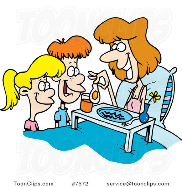 cartoon children serving their mom breakfast in bed 7572 by ron rh toonclips com Fighting Clip Art Fighting Clip Art