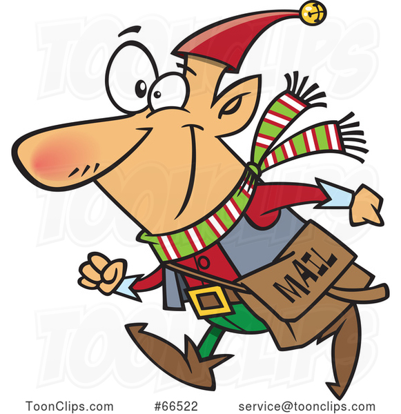 Cartoon Christmas Elf with a Mail Pouch