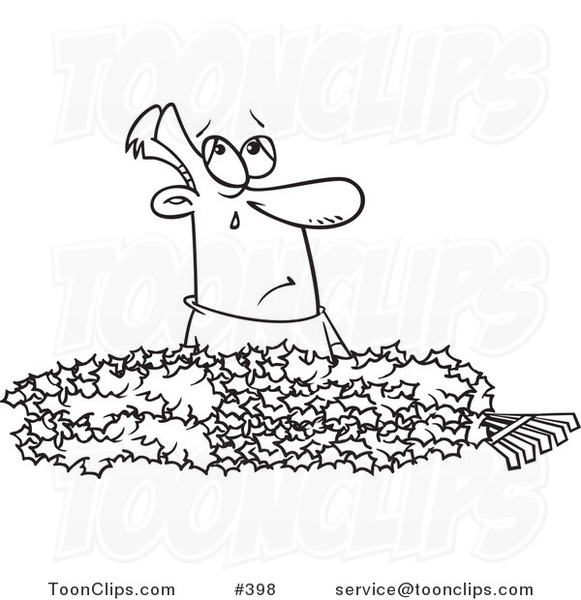 Cartoon Coloring Page Line Art Of A Guy Crying In Pile Autumn Leaves 398 By Ron Leishman