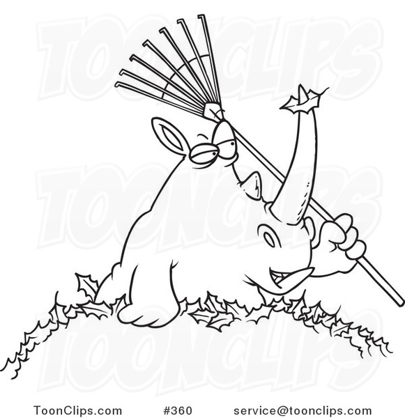 Cartoon Coloring Page Line Art Of A Rhino Holding Rake In Pile Leaves 360 By Ron Leishman