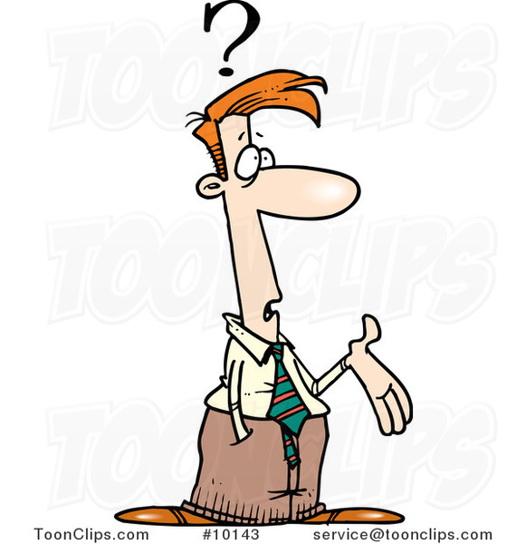 Cartoon Confused Business Man Gesturing #10143 by Ron Leishman
