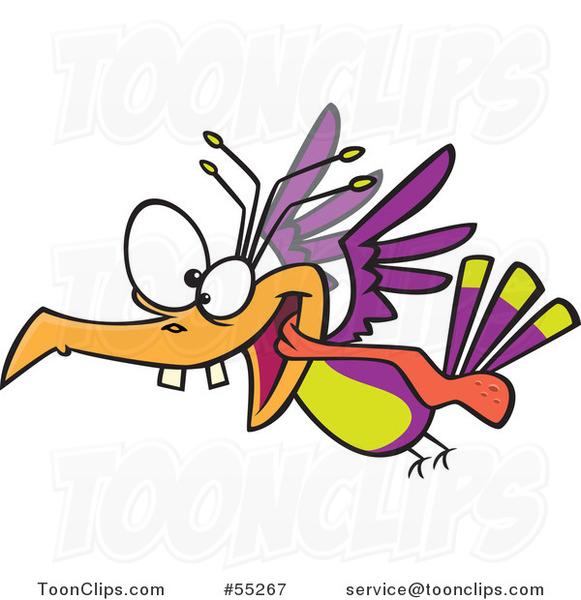 Cartoon Crazy Bird Flying #55267 by Ron Leishman