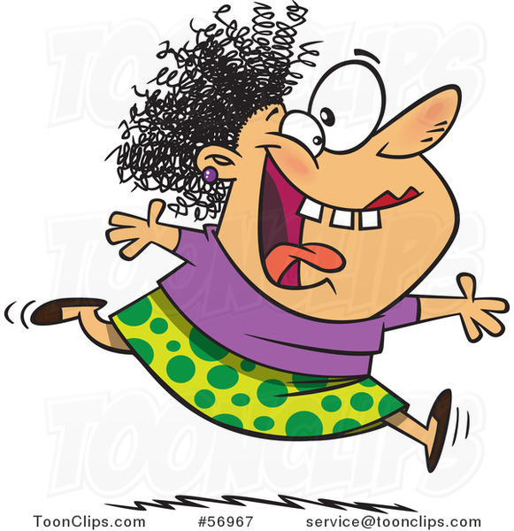 Cartoon Crazy Lady Running And Leaping On Insanity Day 56967 By Ron Leishman