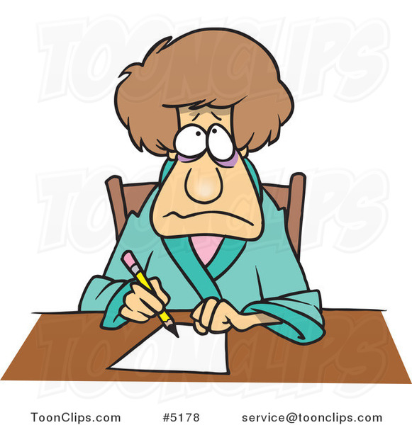 Cartoon Depressed Lady Writing a Letter 5178 by Ron Leishman