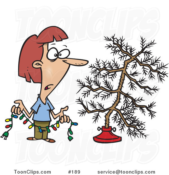Cartoon Depressed White Lady Holding Colorful Christmas Lights And Looking At Her Dead Christmas Tree In The Stand 189 By Ron Leishman Tree death drawing, dead tree cartoon png. cartoon depressed white lady holding