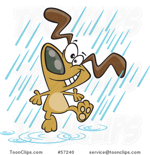 Cartoon Dog Dancing in the Rain