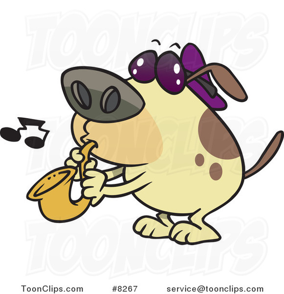 cartoon dog playing a saxophone 8267 by ron leishman