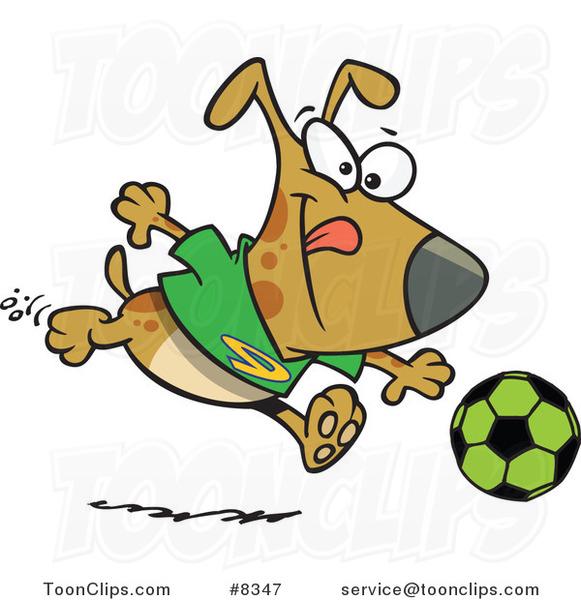 cartoon dog playing soccer 8347 by ron leishman