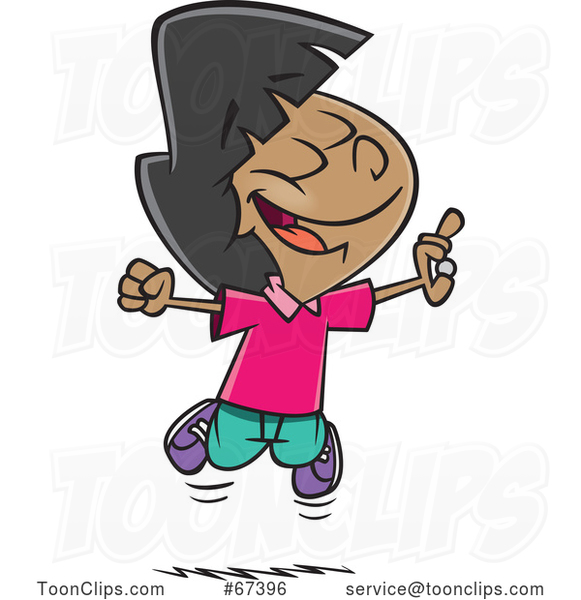 Cartoon Excited Girl Jumping After Finding Money