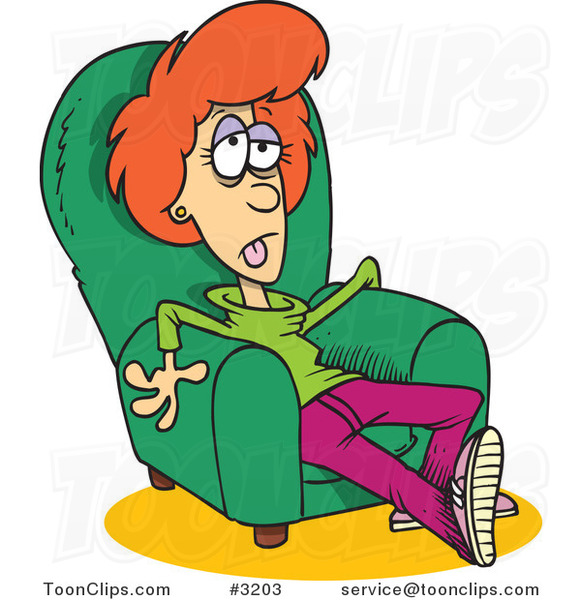 Cartoon Exhausted Lady Sitting In An Arm Chair 3203 By