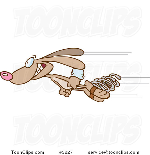 Cartoon Fast Rabbit Shooting Past With Springs 3227 By Ron Leishman