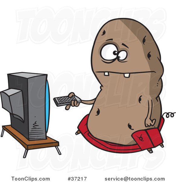 Cartoon Fat Couch Potato Flipping Through Channels on the Tv