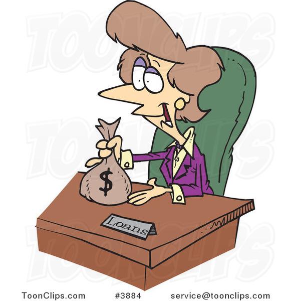 Cartoon Female Banker Giving a Loan #3884 by Ron Leishman
