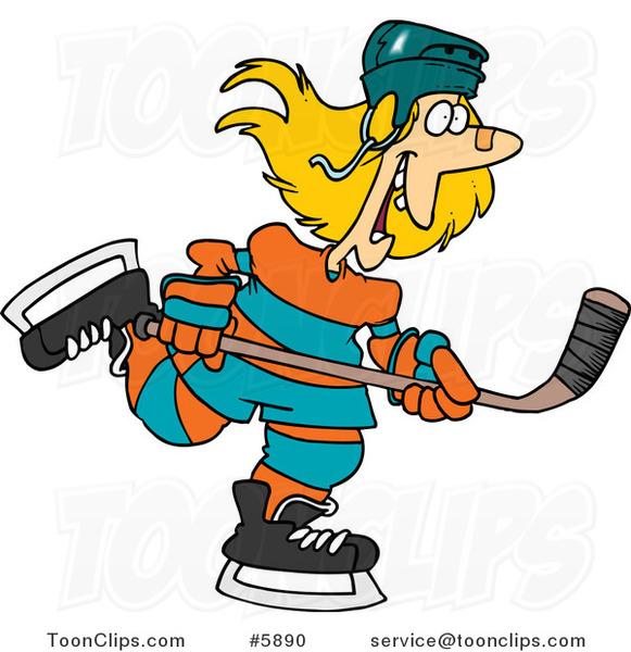Cartoon Female Hockey Player #5890 by Ron Leishman
