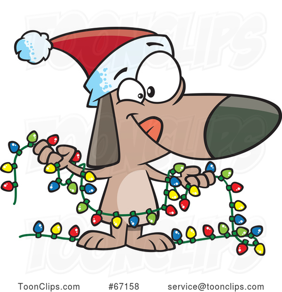 Cartoon Festive Christmas Dog Holding Lights