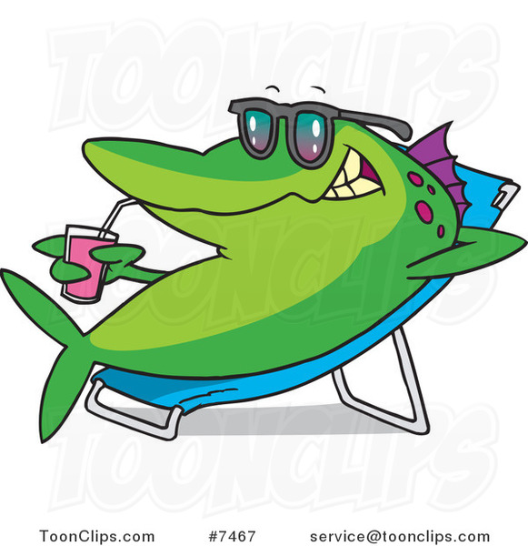 Cartoon Fish Relaxing on a Lounge Chair and Sipping a Beverage