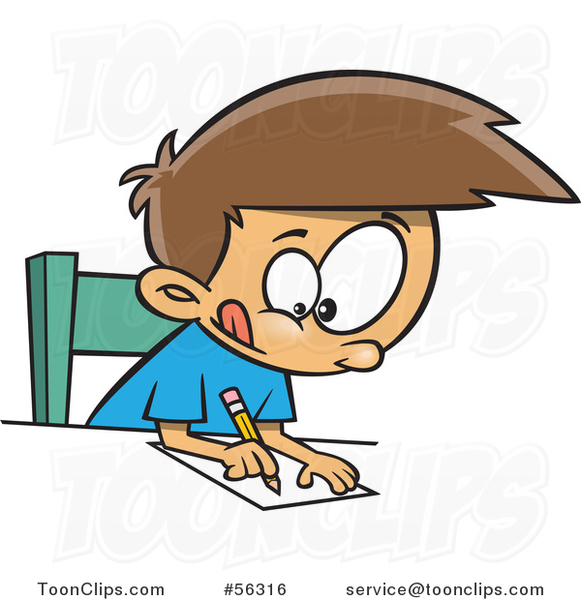 Cartoon Focused Brunette White Boy Writing At A Desk
