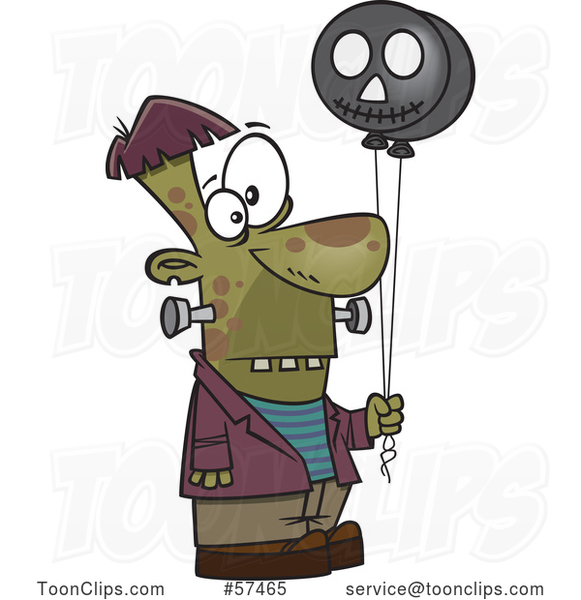 Cartoon Frankenstein Holding Black Balloons