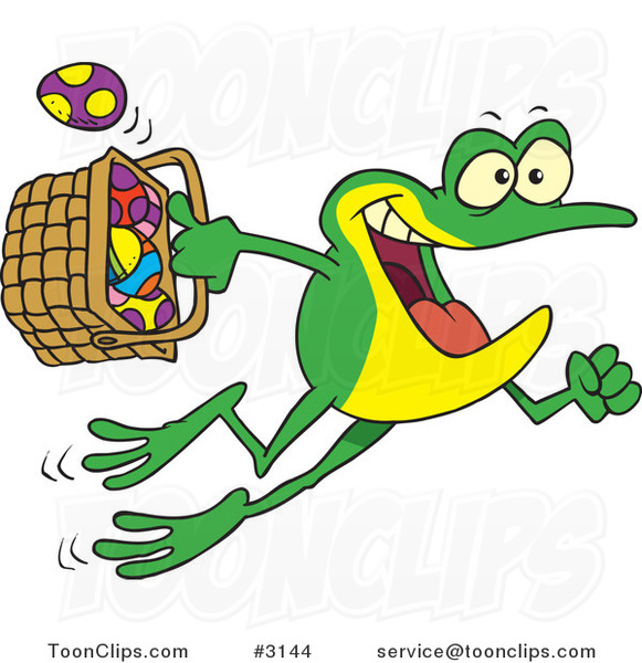 Cartoon Frog Hopping with a Basket of Easter Eggs
